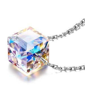 Aurora Borealis Cubed Life Sterling Necklace